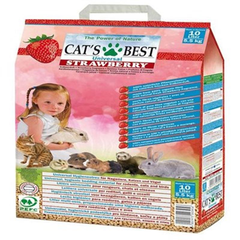 Cats Best Universal Çilek Kokulu Kedi, Kuş ve Kemirgen Kumu 10 Lt