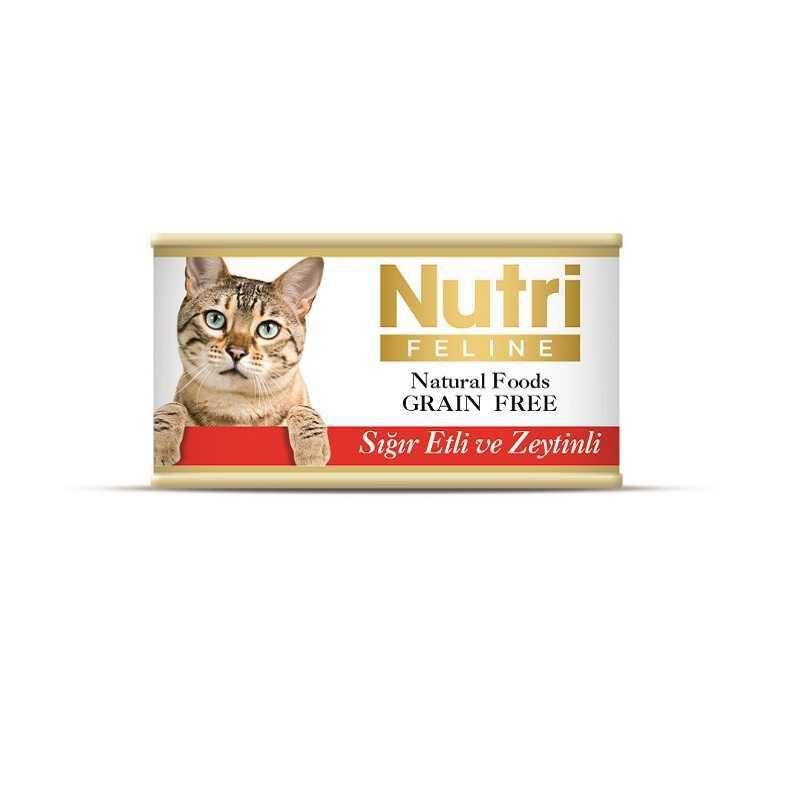 Nutri Feline Tahılsız Sığır Etli Zeytinli Kedi Konservesi 85 Gr