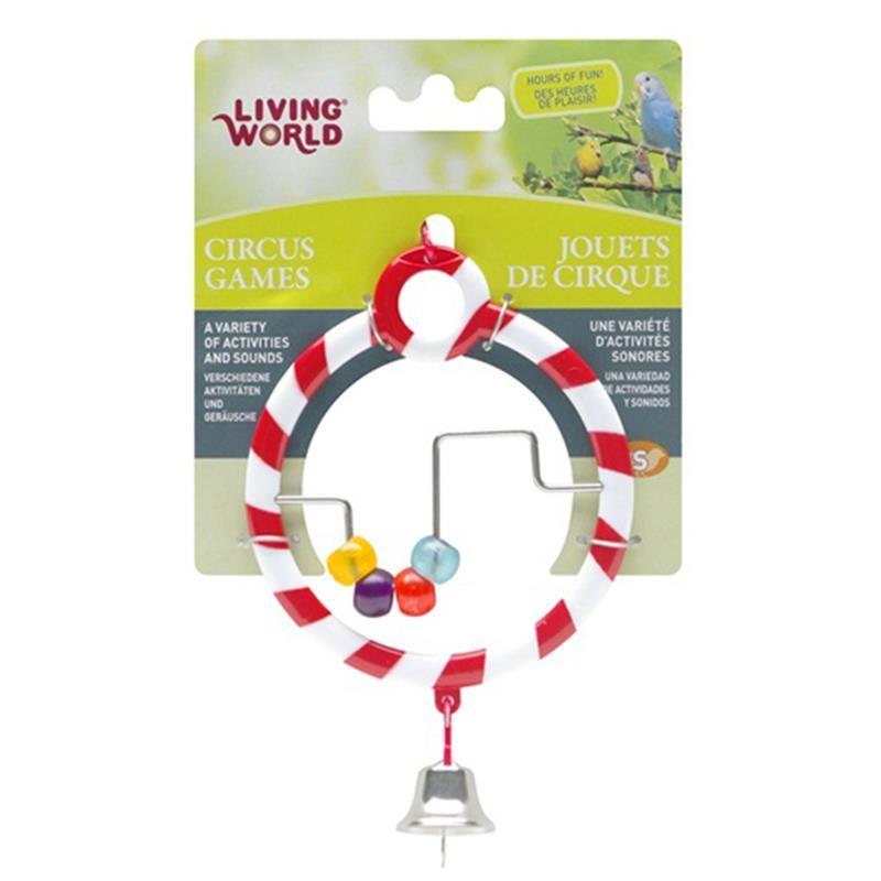 Living World Zilli Boncuklu Kırmızı Halka Kuş Oyuncağı