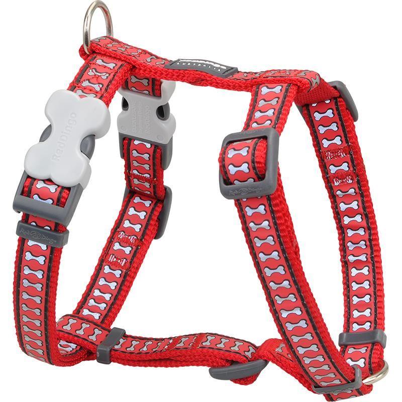 Reddingo Reflektörlü Kemik Desenli Kırmızı Köpek Göğüs Tasması 12 Mm