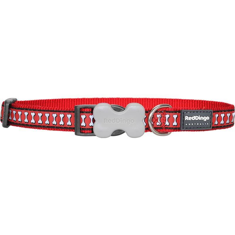 Reddingo Fosforlu Kemik Desenli Kırmızı Köpek Boyun Tasması 25 Mm