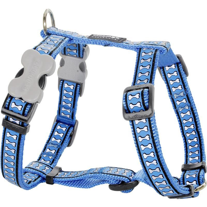Reddingo Reflektörlü Kemik Desenli Mavi Köpek Göğüs Tasması 25 Mm