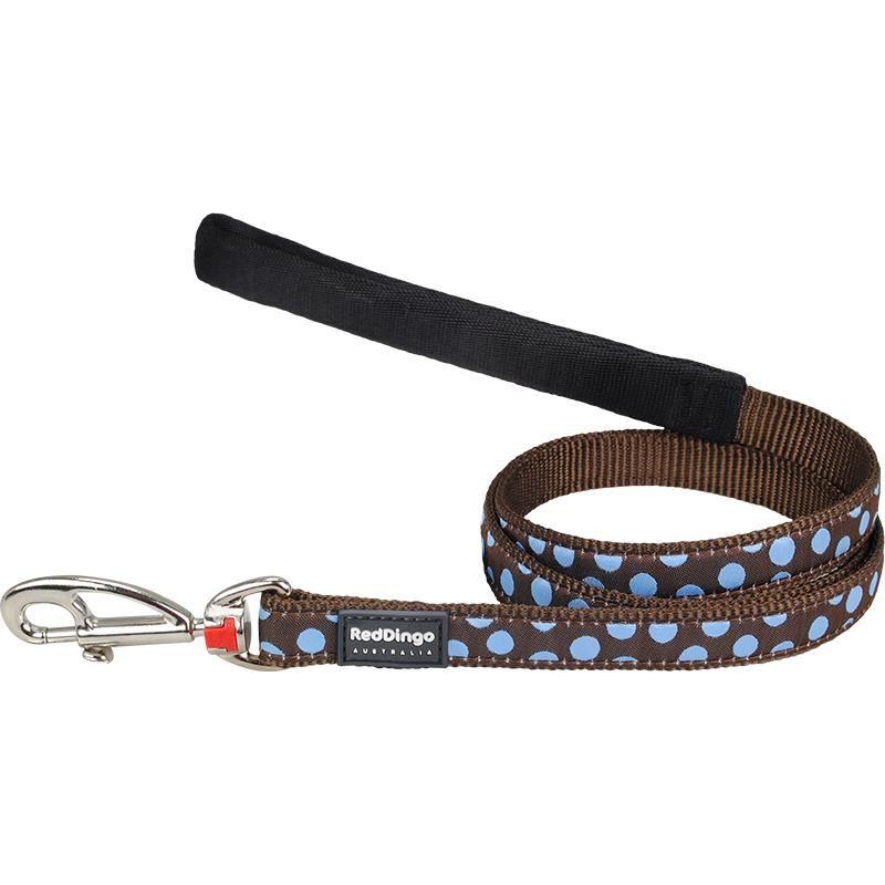 Reddingo Kahverengi Üzerine Mavi Benekli Uzatma Köpek Tasması 25 Mm