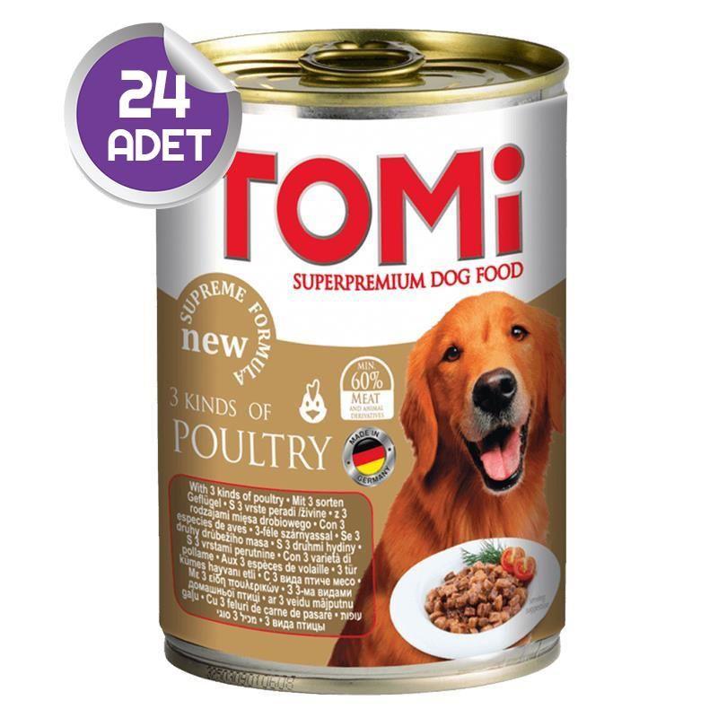 Tomi 3 Çesit Kümes Hayvanlı Köpek Konservesi 400 Gr 24 ADET