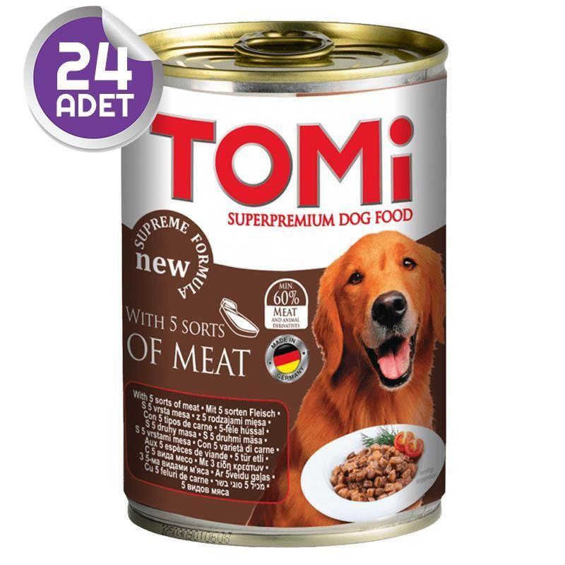 Tomi 5 Çesit Kırmızı Etli Köpek Konservesi 400 Gr 24 ADET
