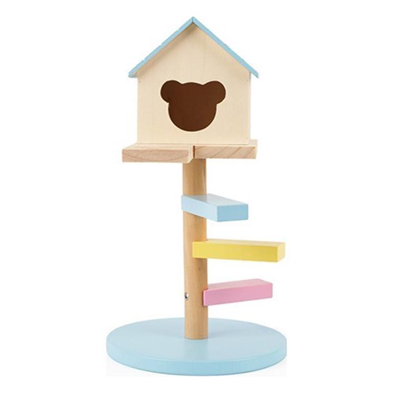Merdivenli Hamster Evi Ahşap No 521 Mavi