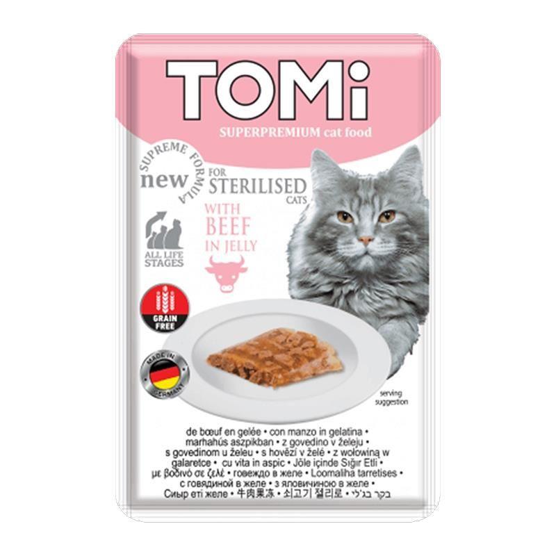 Tomi Sterilised Sığır Etli Kısır Pouch Kedi Konservesi 85 Gr