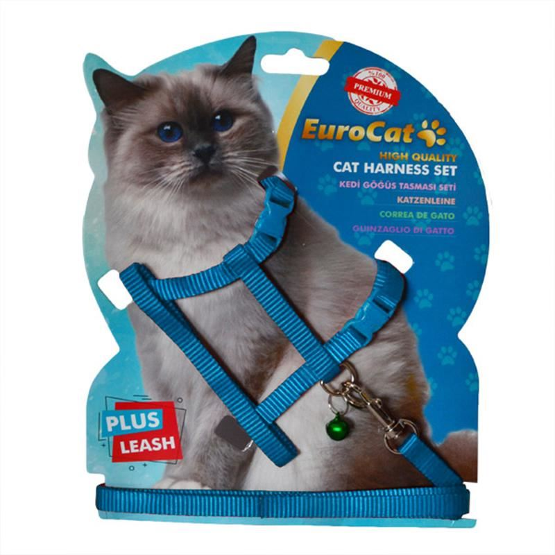 Eurocat Kedi Göğüs Tasma Seti Açık Mavi