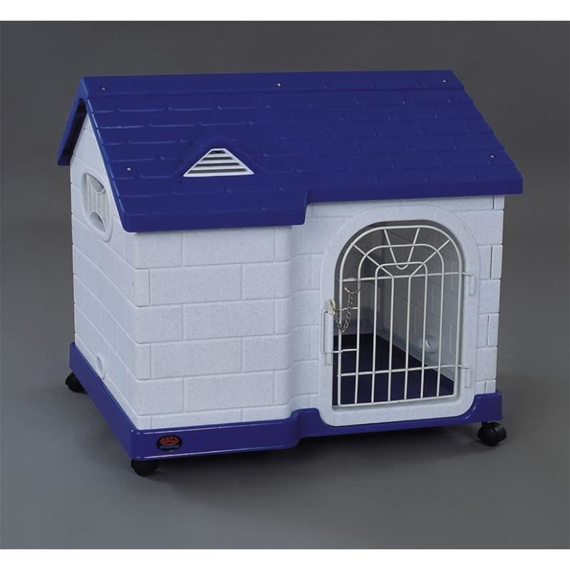 Dayang Çatılı Ve Tekerlekli Plastik Kedi Köpek Kulübesi Mavi 64 Cm