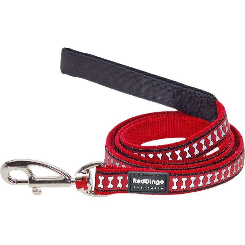 Reddingo Reflektörlü Kemik Desenli Kırmızı Uzatma Köpek Tasması 12 Mm