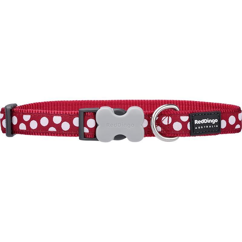 Reddingo Kırmızı Üzerine Beyaz Benekli Köpek Boyun Tasması 12 Mm