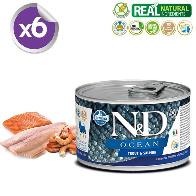 ND Ocean Mini Alabalık Somonlu Köpek Konservesi 140 Gr X 6