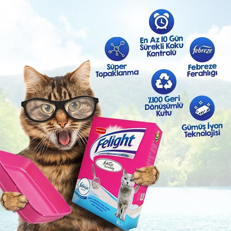 Felight Febreze Süper Premium Topaklanan Kedi Kumu 6 Lt