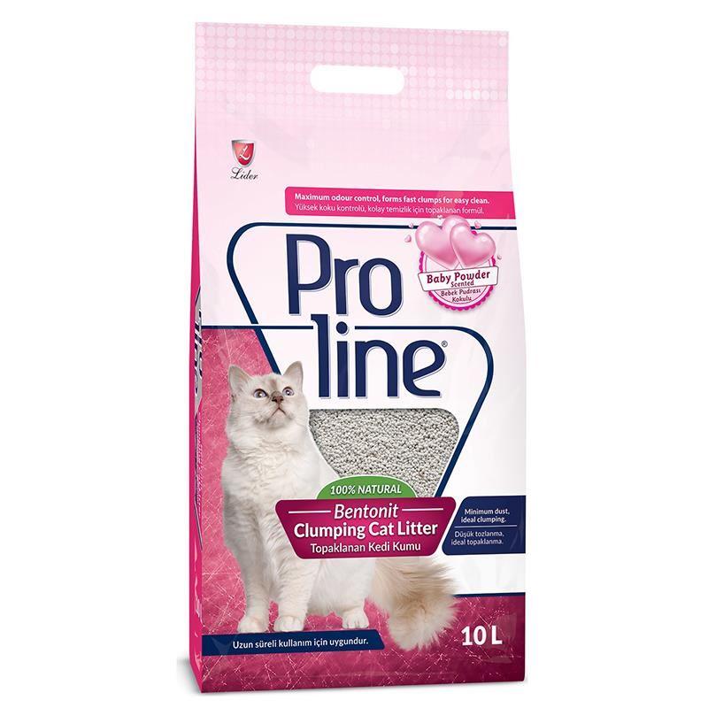 Proline Doğal Topaklanan İnce Taneli Bebek Pudaralı Kedi Kumu 10 Lt