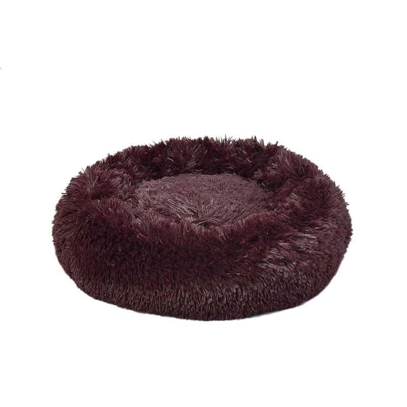 Dubex Ponchik Peluş Kedi Köpek Yatağı Bordo Small