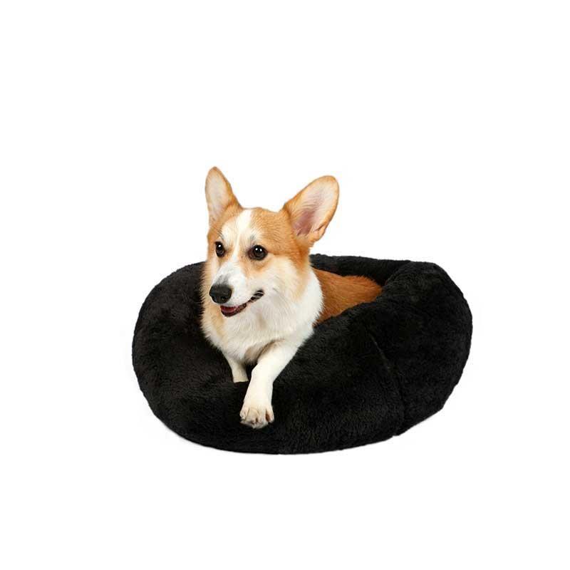 Dubex Brownie Peluş Kedi Köpek Yatağı Yuvarlak Antrasit Gri Large