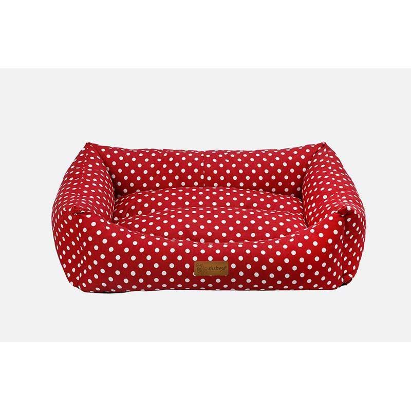 Dubex Makaron Kedi Köpek Yatağı Kırmızı Benekli Large