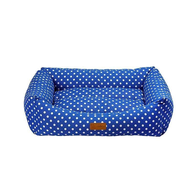 Dubex Makaron Kedi Köpek Yatağı Mavi Benekli XL