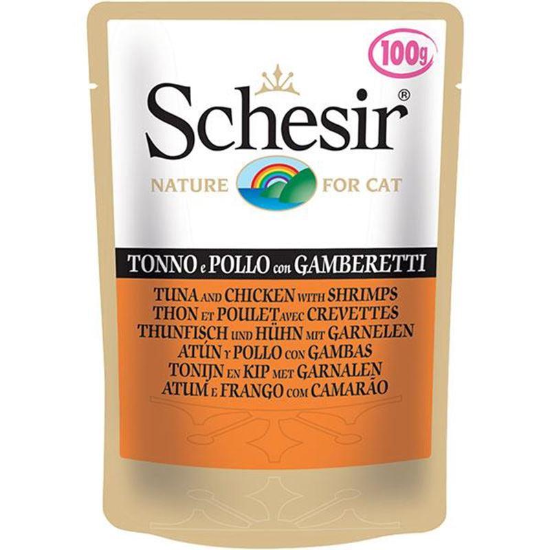Schesir Pouch Ton Balıklı Tavuklu ve Karidesli Yetişkin Kedi Konservesi 100 Gr