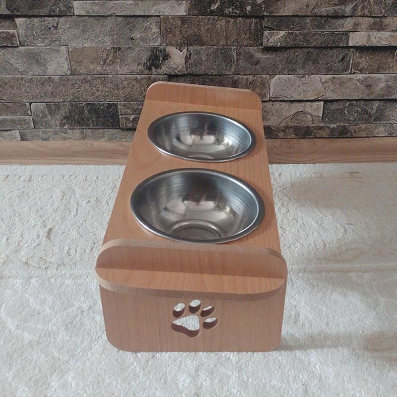 Kayın Desenli Ahşap İkili Kedi Köpek Mama ve Su Kabı