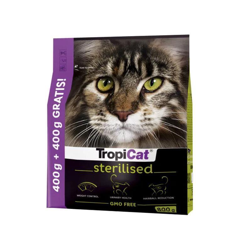 TropiCat Premium Tavuklu Kısırlaştırılmış Kedi Maması 400 Gr+ 400 Gr