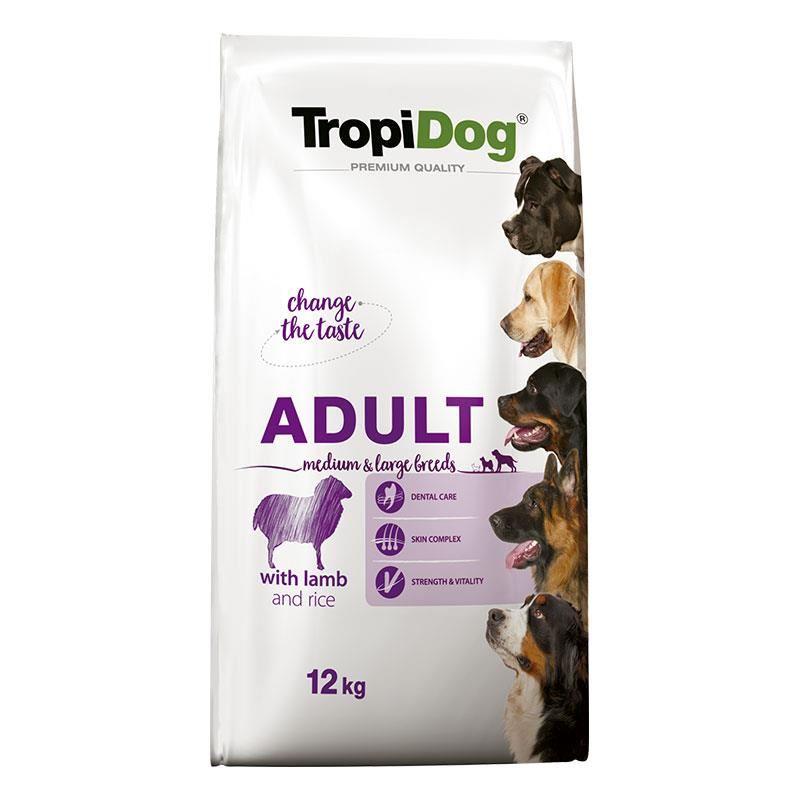 TropiDog Kuzu Etli ve Pirinçli Yetişkin Köpek Maması Medium Large 12 kg