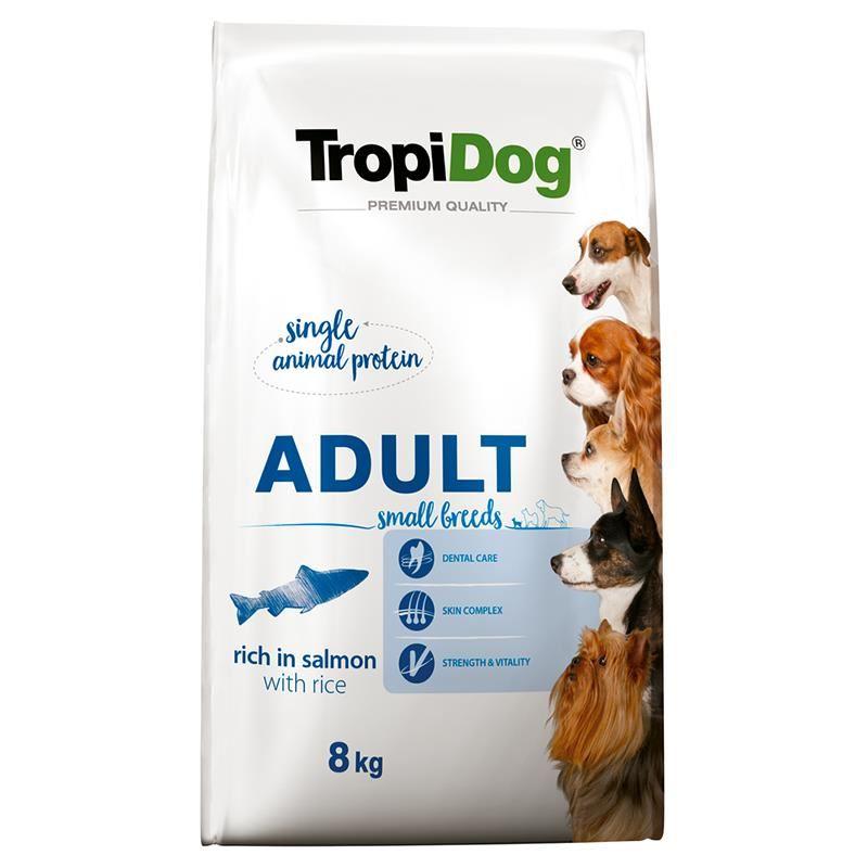 TropiDog Somonlu ve Pirinçli Küçük Irk Yetişkin Köpek Maması 8 Kg