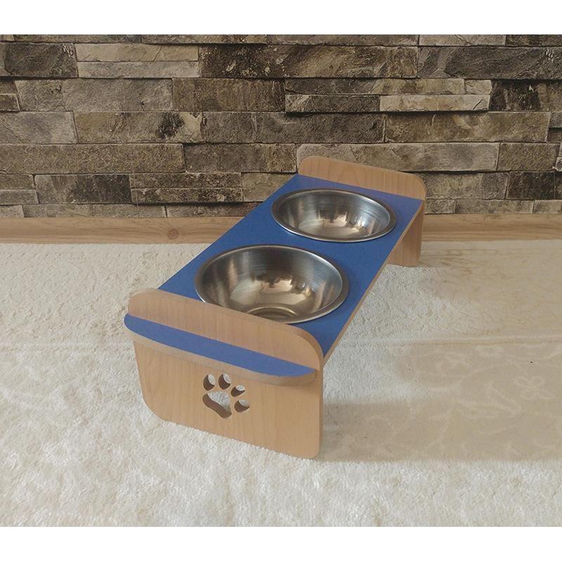 Kayın Mavi Desenli Ahşap İkili Kedi Köpek Mama ve Su Kabı