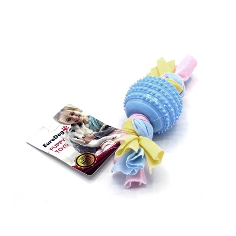 EuroDog Puppy Toys Tırtıklı Top Diş Kaşıma Yavru Köpek Oyuncağı Mavi 17 Cm