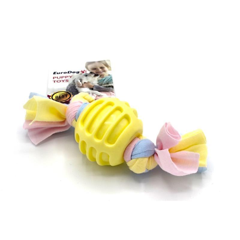 EuroDog Puppy Toys Diş İpli Kauçuk Top Yavru Köpek Oyuncağı Sarı 17 Cm