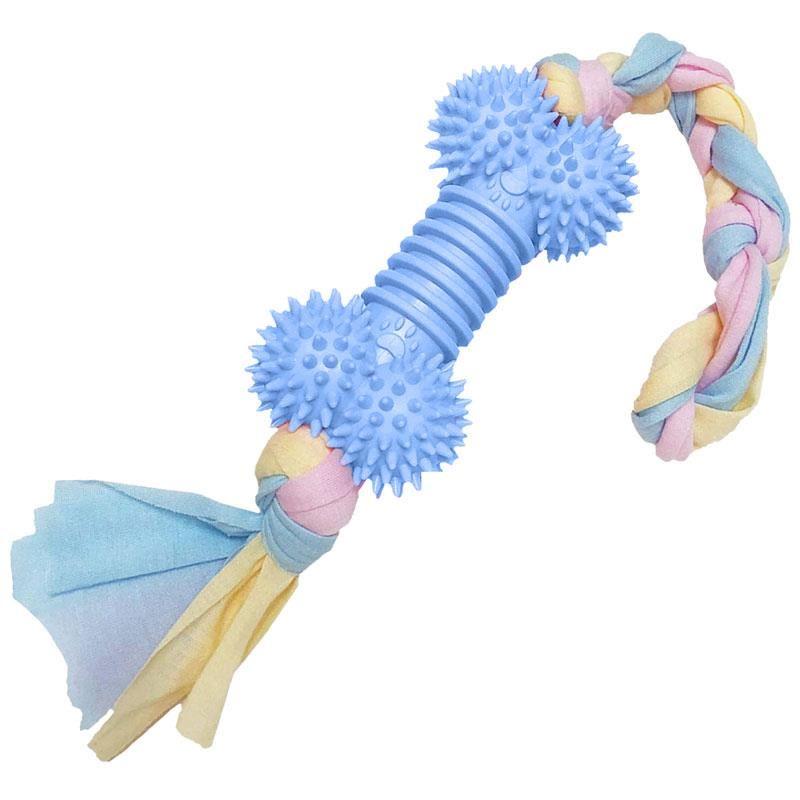 EuroDog Puppy Toys Diş İpli Kauçuk Kemik Yavru Köpek Oyuncağı Mavi 43 Cm