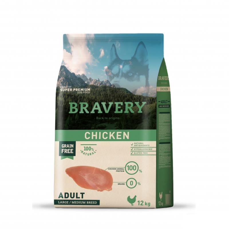 Bravery Adult Medium Large Tavuklu Tahılsız Köpek Maması 12 Kg