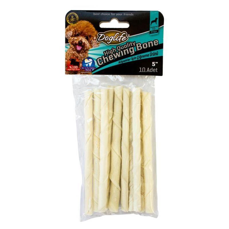 Doglife Beyaz Burgu Çubuk Köpek Çiğneme Kemiği 10x 6 Gr