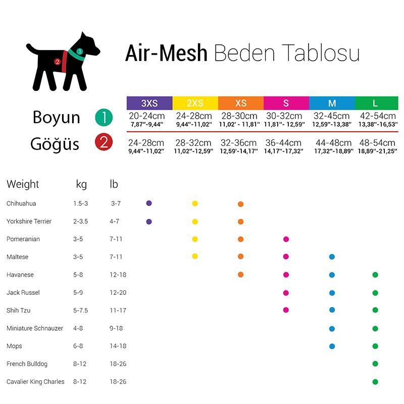 TailPetz Air Mesh Köpek Göğüs Tasması Mor 2X Small