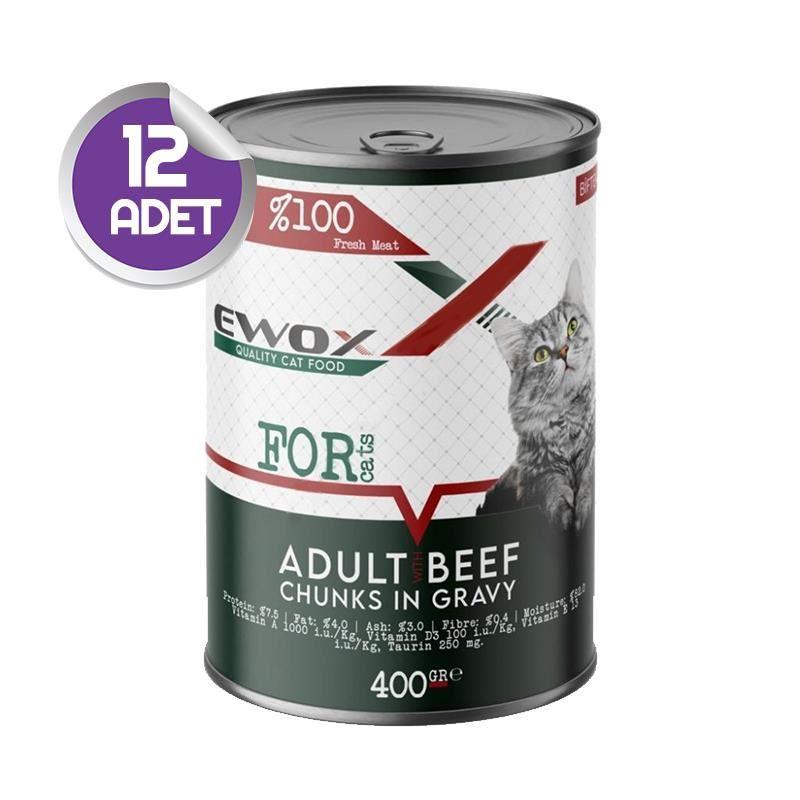 Ewox Biftekli Parça Etli Yetişkin Kedi Konservesi 400 Gr x12