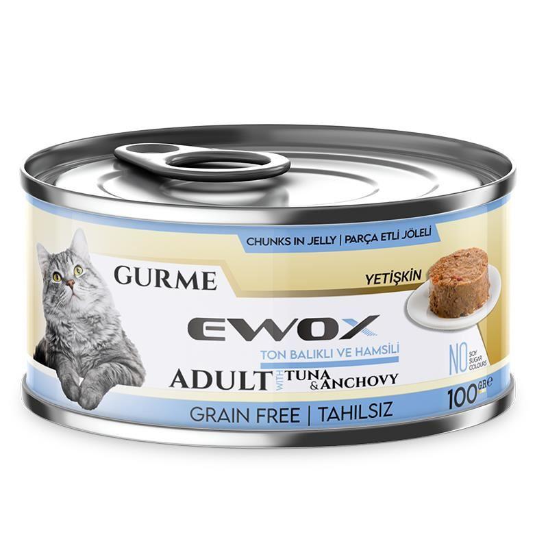Ewox Gurme Ton Balıklı Ve Hamsili Tahılsız Kedi Konservesi 100 Gr