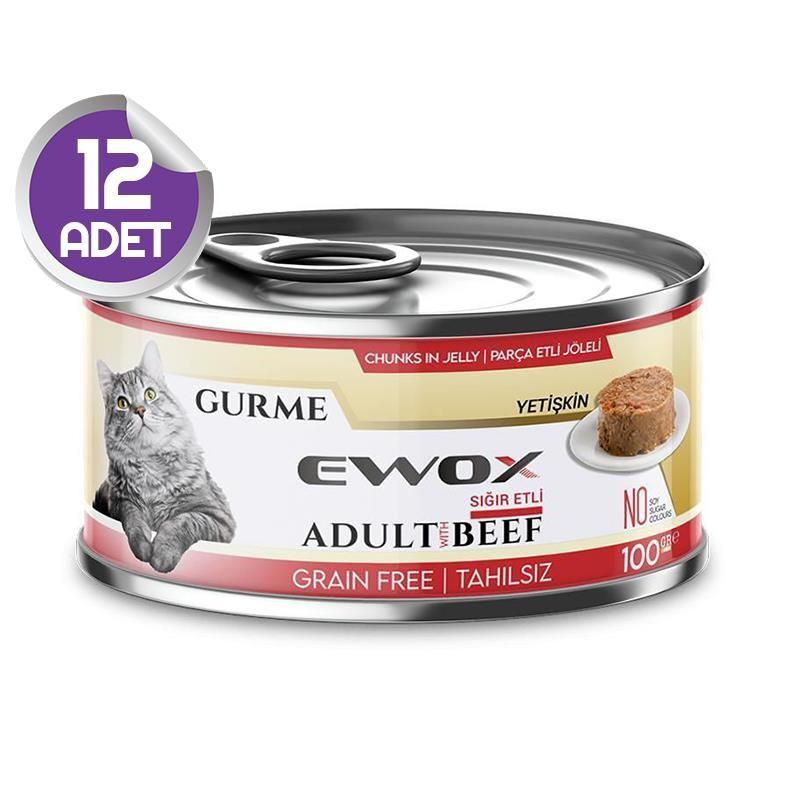 Ewox Gurme Sığır Etli Tahılsız Kedi Konservesi 100 Gr x12