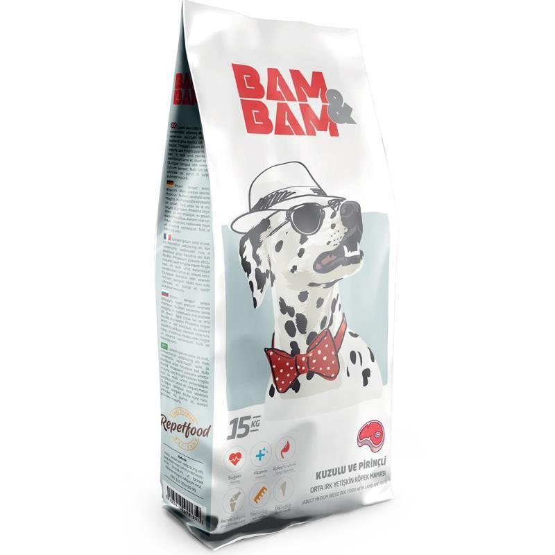 Bam Bam Kuzu Etli Orta Irk Yetişkin Köpek Maması 15 Kg