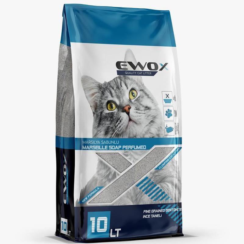 EwoX Marsilya Sabunlu Kalın Taneli Topaklanan Kedi Kumu 10 Lt