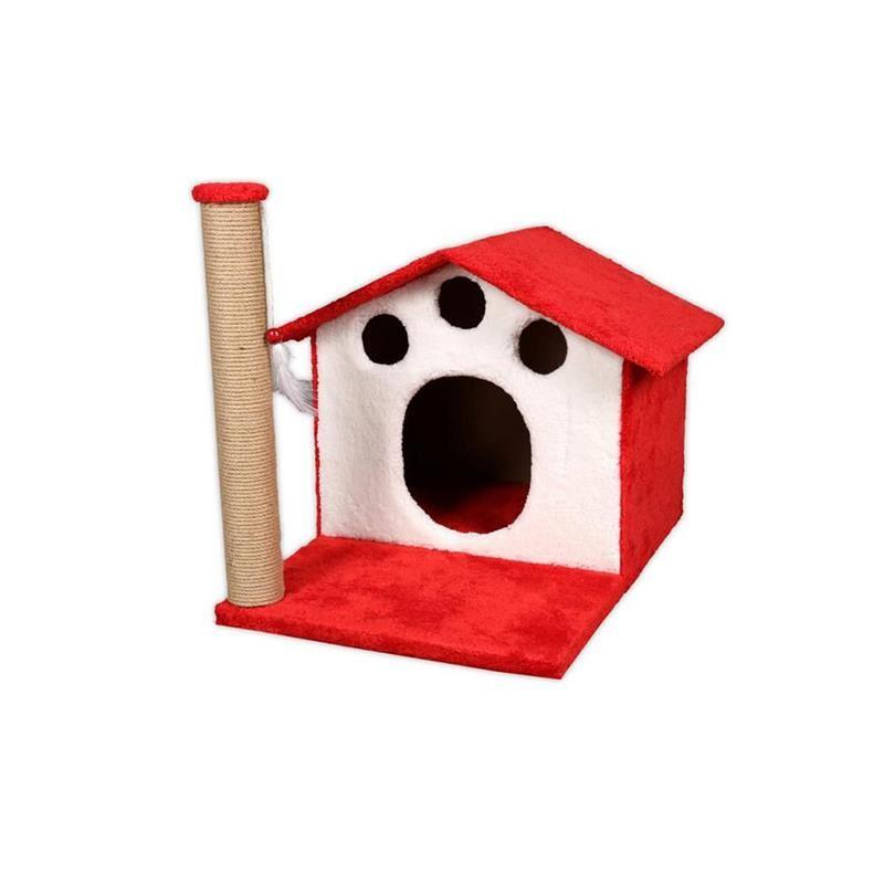 EwoX Kedi Tırmalama ve Kedi Evi Kırmızı