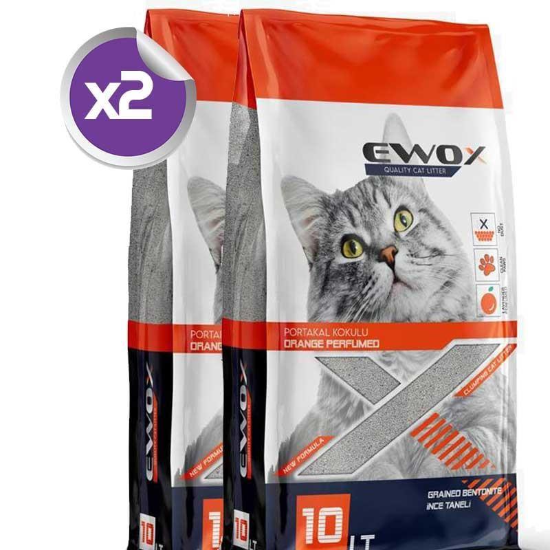 EwoX Portakal Kokulu İnce Taneli Topaklanan Kedi Kumu 10 Lt x2 ADET