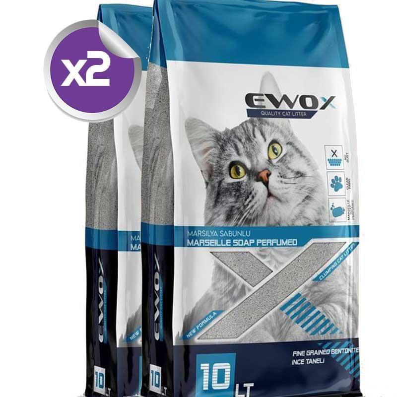 EwoX Marsilya Sabunlu Kalın Taneli Topaklanan Kedi Kumu 10 Lt x2 ADET