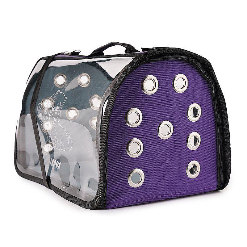Lepus Şeffaf Fly Bag Kedi Köpek Taşıma Çantası Mor Medium