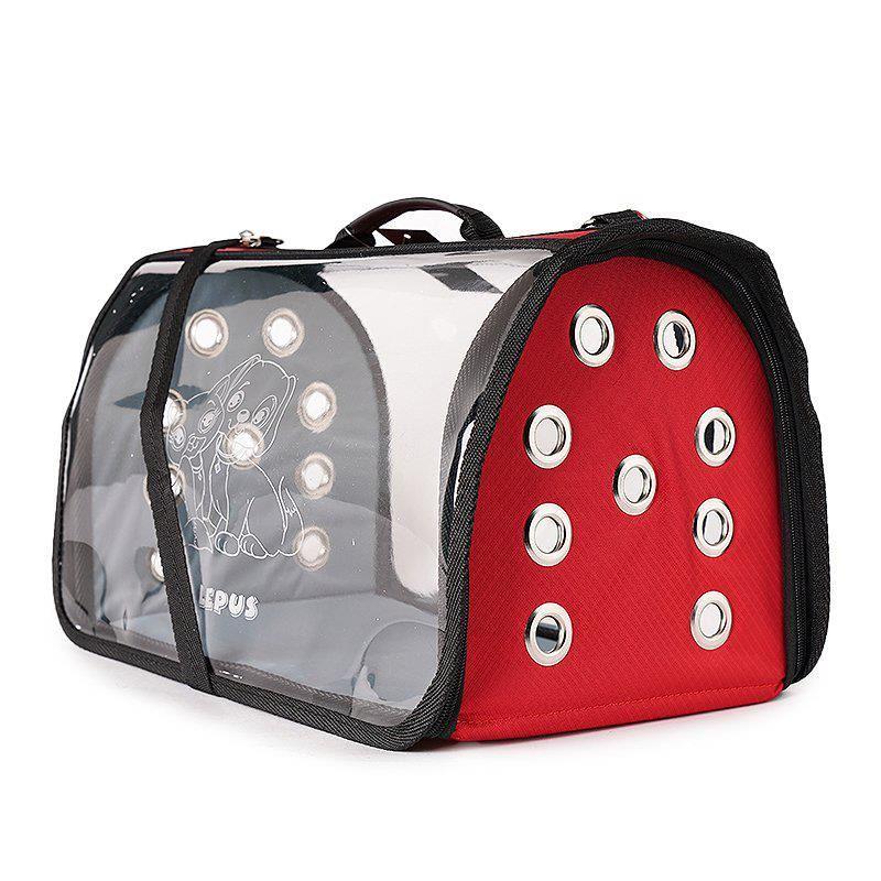 Lepus Şeffaf Fly Bag Kedi Köpek Taşıma Çantası Kırmızı Large