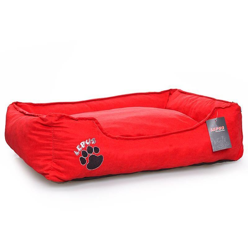 Lepus Fermuarlı Soft Kedi Köpek Yatağı Kırmızı Large