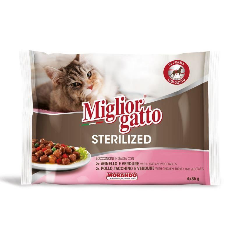 Miglior Gatto Kısırlaştırılmış Kuzulu Tavuk ve Hindili Karışık Kedi Konservesi 4x85 Gr