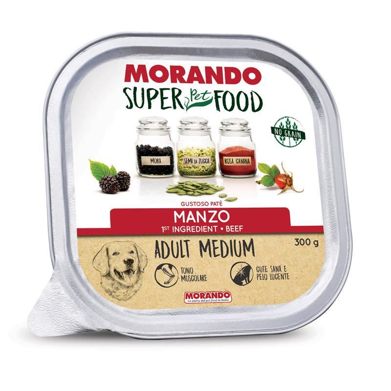 Morando Super Food Medium Tahılsız Biftekli Ezme  Köpek Konservesi 300 Gr