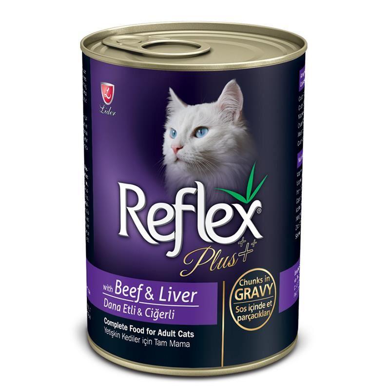 Reflex Plus Soslu Biftek Ve Ciğerli Kedi Konservesi 400 Gr