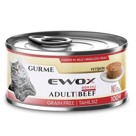 Ewox Gurme Sığır Etli Tahılsız Kedi Konservesi 100 Gr