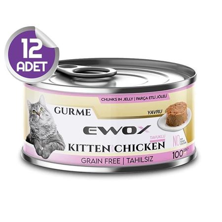 Ewox Gurme Tavuklu Tahılsız Yavru Kedi Konservesi 100 Gr x12